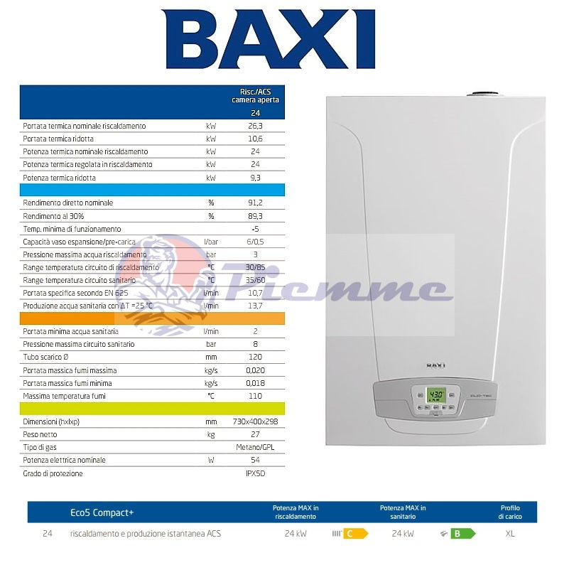 Caldaia baxi eco5 compact 24 camera aperta for Baxi eco 5 compact